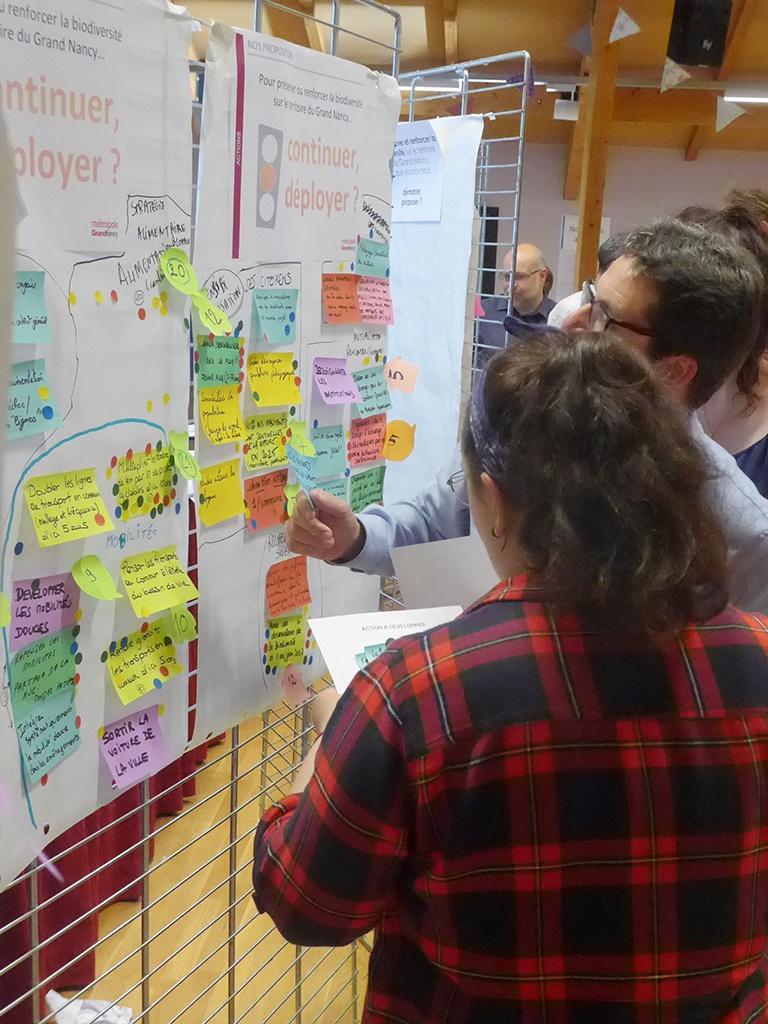 Le groupe vote parmi les nombreuses idées qui viennent d'être collectées